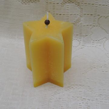 Vela Artesanal Estrela 5 Pontas Amarela e Essência Canela