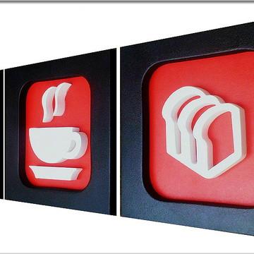 Trio de Quadros Decorativo de Cozinha 22 x 22 cm (Vermelho