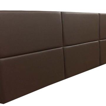 Cabeceira Estofada King Bloco Alce Couch Corino Marrom 195cm