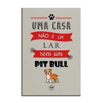 Placa Decorativa em MDF Cachorro Pitbull Branco ou Marrom