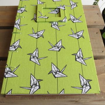 Caderno Médio com Costura Artística Tsuru