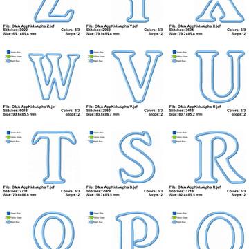 Matriz de Bordado Alfabeto Aplique Completo