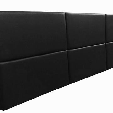 Cabeceira Estofada Casal Bloco Alce Couch Corino Preto 140cm