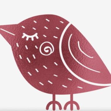 Quadro infantil Pássaro em foil rosa para quarto de bebê MBR