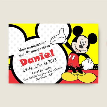 Convite Aniversario Infantil Mickey Mouse - Aquivo Digital
