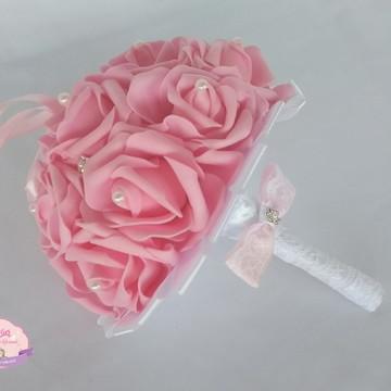 Buquê porta aliança - Rosa e branco