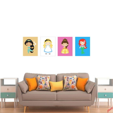 4 Quadros 30X22 Decorativo Desenho Princesas (Q3022K4QP1256)