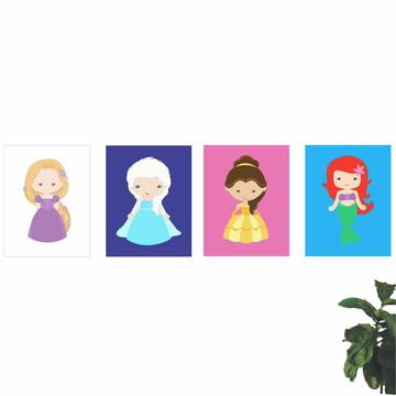 Placas Decorativas Princesas Disney Kit 4 (Q3022K4QP3456)