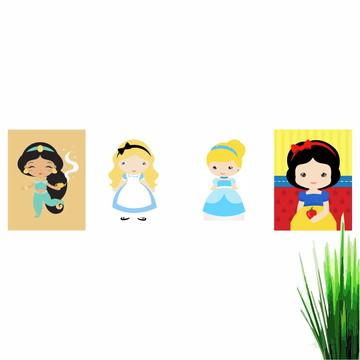 Kit Com 4 Quadros Princesas Disney 30X22cm (Q3022K4QP1827)