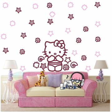 Adesivo Kit Hello Kitty Bordo e rosa claro