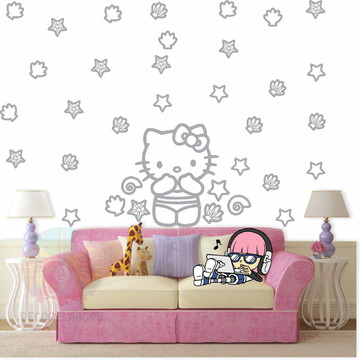Adesivo Kit Hello Kitty cinza claro