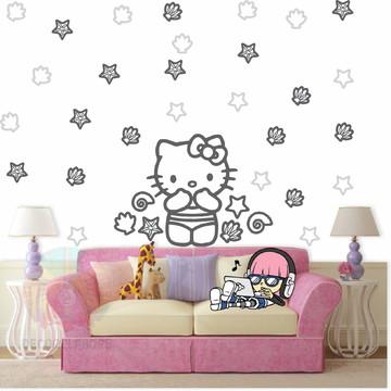 Adesivo Kit Hello Kitty cinza escuro e claro