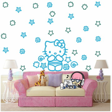 Adesivo Kit Hello kitty azul celeste e turquesa