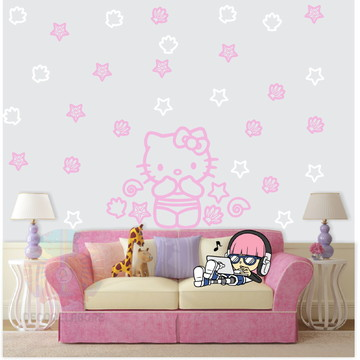 Adesivo kit Hello kitty rosa e claro Branco