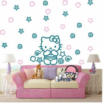 Adesivo Hello kitty Verde turquesa e rosa claro