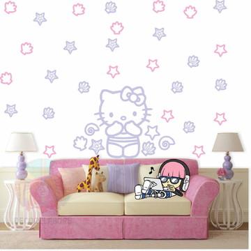 Adesivo Kit Hello kitty rosa claro e lilas