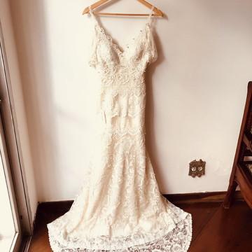 Vestido de noiva boho chic modelo Fénix feito à mão