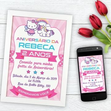 Convite Digital - Tema Hello Kitty