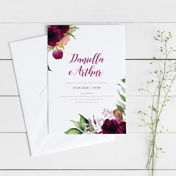 Convite Digital de Casamento Vinho