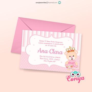 Convite Aniversário Ursinha princesa Rosa - Convite digital