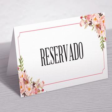 Placa Reservado Floral Rosa - Arte digital