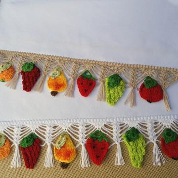 Kit com 2 Panos de Copa Frutas de Crochê