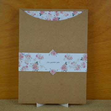 Convite de casamento rústico com envelope