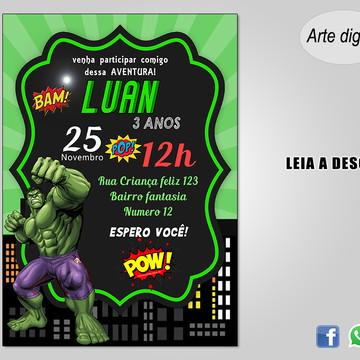 Convite Hulk - DIGITAL