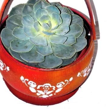 vaso Porta-flores - arte em pneus