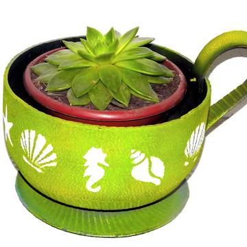 vaso xícara para flores - jardim sustentável arte com pneus