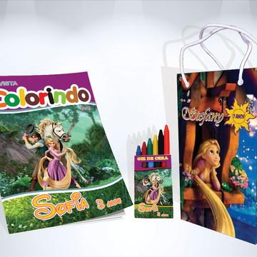 Kit de Colorir Rapunzel Enrolados Revista Sacola Giz