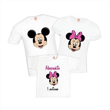 Camisetas de Aniversário Minnie Rosa Disney