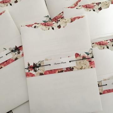 Convite de Casamento envelope Branco