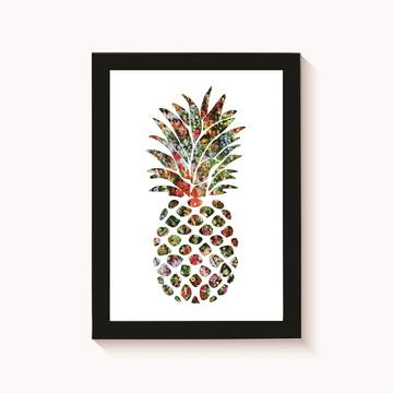 Quadro-Poster com Moldura Abacaxi Colorido