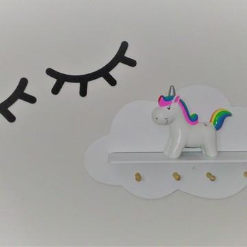 Prateleira Nuvem G com Cabideiro + Cílios Mdf 25 cm