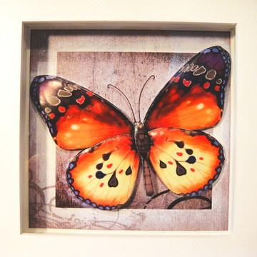 Quadro borboleta laranja em arte francesa