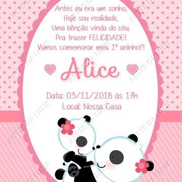 Convite Digital Ursinha Panda