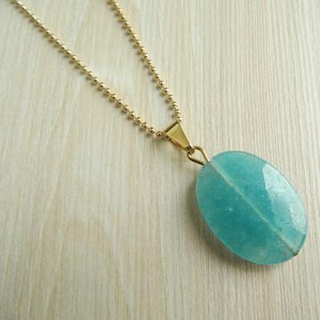Colar Pedra Quartzo Esponja Azul