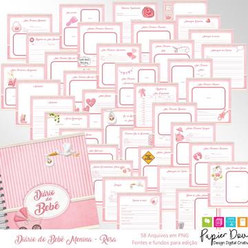 Diário do Bebê - Clássico Menina Rosa