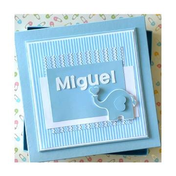 Livro do bebê menino scrapbook com caixa elefantinho amoroso
