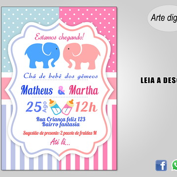 Convite Chá de Bebê Gêmeos (Digital)