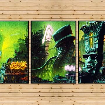 Conjunto 3 Quadros Mundo Proibido Cool World Ralph Bakshi A3