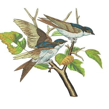 matriz para máquina de bordar passarinhos árvores
