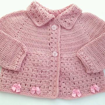 Casaco crochê de linha com lacinhos