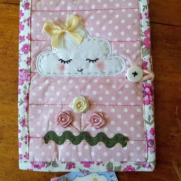 Capa de Caderneta de Vacinação em tecido --- chuva de amor