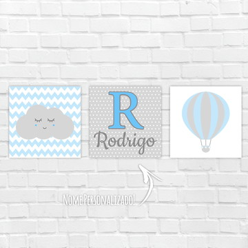 Placas Decorativas MDF - Nome personalizado nuvem balão