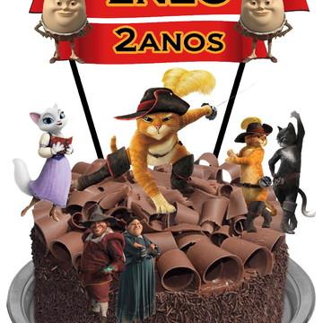 Topo de bolo - Gato de Botas