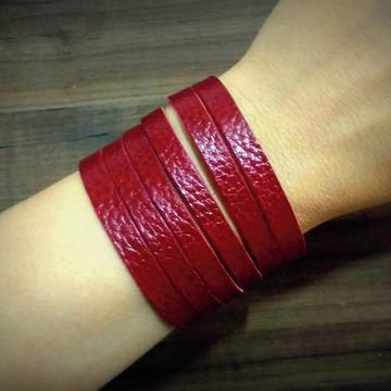 Bracelete De Couro Feminino Tiras