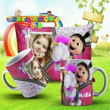 Kit Caneca de plastico e almofada Personalizada crianca 1