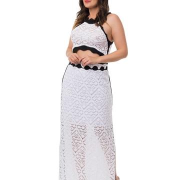38a3953048 Conjunto Cropped Saia Longa Fenda Tricô Bicolor Branco 05033